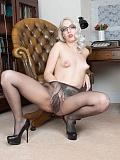 Secretary Liz in grey tights