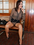 MILF Roni wearing see-through brown pantyhose with no underwears taking pictures in public place